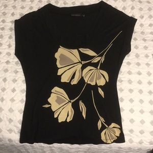 The Limited Black Shirt with Cream Floral Design